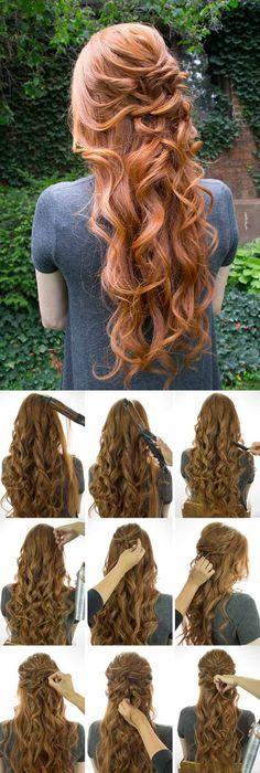 Wedding Hairstyles for Long Hair - Loose Curly Half Up - Looking For The Perfect Updo Or Half Up For Your Wedding Day? I've Covered My Favorite DIY And Professional Hairstyles For Long Hair With Amazing To The Side Looks, Styles With Braids, And How To Work With Veil And With Flowers In Your Hair. Great Step By Step Tutorials For A Bridesmaid Look And Some Simple And Elegant Ideas For A Vintage Wedding As Well. Great Looks For Blondes And