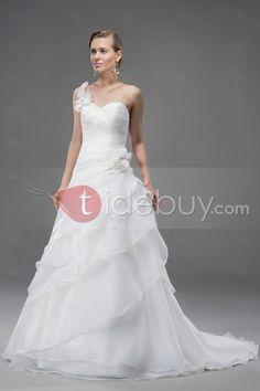 ワンショルダービーズフラワーフリルジッパーアップコートのトラインAラインウェディングドレス