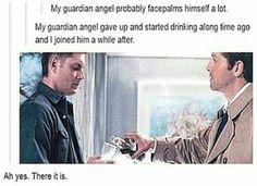 This implies that Dean in Castiel's guardian angel
