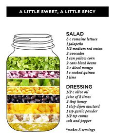 This healthy salad in a jar recipe will satisfy your sweet tooth without sabotaging your healthy lunch. Need to spice up other lunch dishes? Get more mason jar lunch ideas from our roundup of healthy salad in a jar recipes. Mason Jar Lunch, Mason Jar Meals, Meals In A Jar, Mason Jars, Cilantro, Salad Recipes, Healthy Recipes, Jar Recipes, Juicer Recipes