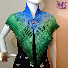 Julie shawl, easy to make w/ sections of single crochet and thicker sections of double crochet v-stitches to create an appealing solid and lace stripe look.