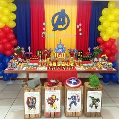 Birthday Party Decorations For Boys Super Heros Baby Shower 55 Ideas Avengers Birthday, Superhero Birthday Party, 1st Birthday Parties, 4th Birthday, Birthday Ideas, Marvel Baby Shower, Superhero Baby Shower, Avenger Party, Avengers Party Decorations