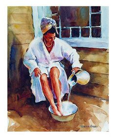 "Bathing by Graham Berry Watercolor ~ 12"" x 10"""