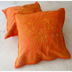 (SKU no: kmic 2018a) 2 Orange Handcrafted Indian Sequin Embroidery Ethnic Elephant Design Throws Pillow Cases Toss Cushion Covers, Krishna Mart India