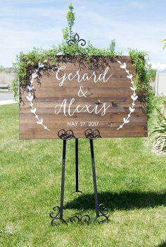 This classy wooden welcome sign will make a beautiful personalized touch to your wedding or event.