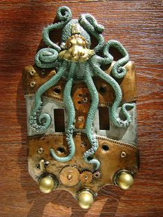 Green Steampunk Octopus Double Light Switch by SookeSculptures, $28.00