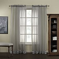 Modern Grey Stripe Polyester Sheer Curtain (Two P... – USD $ 34.99