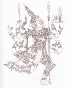 ทศกัณฐ์ (ที่มาภาพ หนังสือ ยักษ์ในรามเกียรติ์ ชุด พรหมพงศ์และอสูรแห่งกรุงลงกา) Thailand Tattoo, Thailand Art, Thai Design, Thai Tattoo, Thai Art, Ancient Art, Artist Painting, Sculpture Art, Graphic Art
