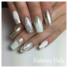 Seek White, gelish with gold glitter And nailart