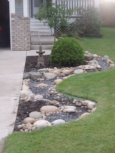Dry stream bed completed but unplanted