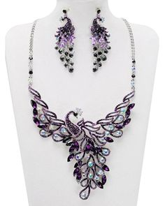Purple Peacock Necklace Set w/ matching earrings http://www.shinysparklythings.com