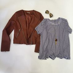 This leather jacket is now 50% off! #socute #hurryin #stripes #leatherjacket