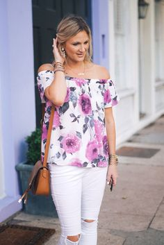 Floral OTS Top | Style in a Small Town