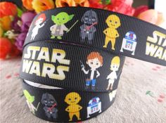 """BTY Printed 7/8"""" Disney Kids Star Wars Black Grosgrain Ribbon Children Scrapbooking Crafts Sewing Lanyards Birthday Party Hair Bows Lisa by HappinessByTheYard on Etsy https://www.etsy.com/listing/273527042/bty-printed-78-disney-kids-star-wars"""