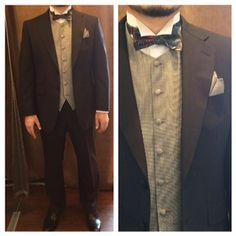 suit:ネイビー無地  vest:千鳥格子  bowtie:リバティマルチパターン  #新郎#カジュアルウエディング