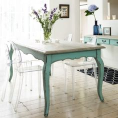 modern shabby chic, distressed aqua wood table with mid century ghost Lucite chAIRS