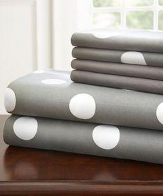 Look at this #zulilyfind! Gray Polka Dot Hotel 5th™ Six-Piece Sheet Set #zulilyfinds