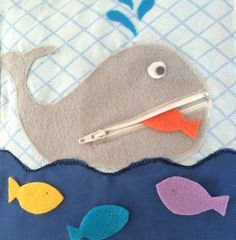 Zipper Whale Quiet Book Page PDF Pattern contains step-by-step instructions and photos to show you how to complete your quiet book page. It is made to