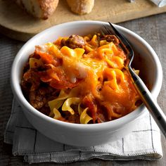 """Crock-Pot Pizza Recipe -""""Always a hit at our church dinners, this hearty casserole keeps folks coming back for more,"""" reports field editor Julie Sterchi from Jackson, Missouri"""