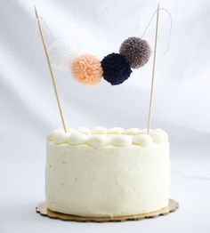 Festive Pom Pom Cake Topper by Team Bee on Scoutmob Shoppe (Cake Topper Diy) Pretty Cakes, Cute Cakes, Beautiful Cakes, Yummy Cakes, Cake Bunting, Cake Banner, Cake Decorating Tips, Decorating Supplies, Diy Cake