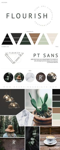 FOR SALE // Branding Boutique Suite. Earth Tones. Natural Branding. Green. Brown. Forrest. Rustic. Minimal. Minimalist Branding. Flower. Geometric Logo. Professional Business Branding by Designer Laine Napoli. Web Design, Logo, Mood Board, Brand Boards, and more. Branding Addicts.