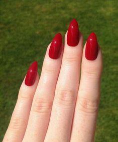 Red Stiletto nails Nail designs Nail art by prettylittlepolish, Red Stiletto Nails, Almond Acrylic Nails, Dark Red Nails, Glitter Nails, Almond Nails Red, Red Glitter, Acrylic Nail Designs, Nail Art Designs, Nails Design