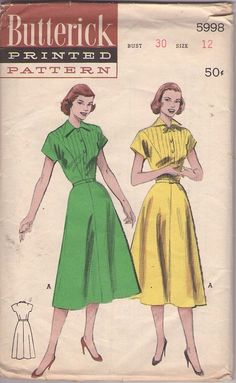 Butterick 5998 Vintage 50's Sewing Pattern AWESOME Lucy Wing Collar, Inset Tuxedo Style Plastron Shirtwaist Dress, Flared Skirt