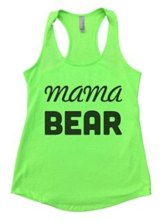 Flowy Funny Mama Bear Womens Fitness Motivational Running Tank Top Medium Green * See this great product.
