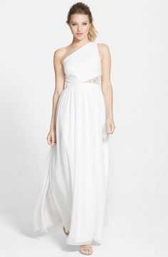 Aidan by Aidan Mattox Lace Inset One-Shoulder Gown | Nordstrom