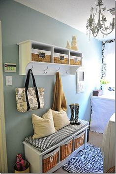 """Since we don't have a large """"mudroom"""" space, our laundry room would work, great idea for side wall in there!"""