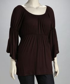 Take a look at this Rock Candy Brown Plus-Size Angel-Sleeve Top by Rock Candy & Eunina Plus on #zulily today!