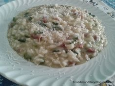Risotto with zucchini and bacon