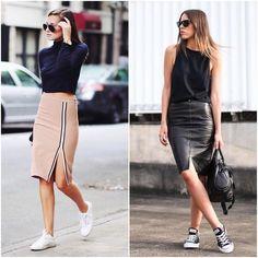 """843 Gostos, 10 Comentários - Moda no Trabalho (@modanotrabalho) no Instagram: """"Looks inspiradores com saia e tênis! Imagens @pinterest #pinterest #MNT #modanotrabalho #lookdodia…"""""""