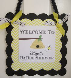 Bumble Bee Baby Shower Welcome Door Sign, Baby Shower Welcome Sign. $12.00, via Etsy.