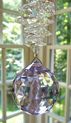 Large 40mm Violet Swarovski Crystal Ball por HeartstringsByMorgan