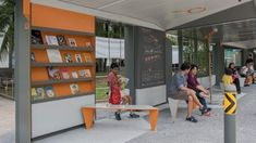 An architecture firm and the government collaborated on a bus stop with books, a rooftop garden, and a swing. Urban Furniture, Furniture Layout, Cheap Furniture, Furniture Ads, Furniture Market, Metal Furniture, Furniture Companies, Dp Architects, Bus Stop Design
