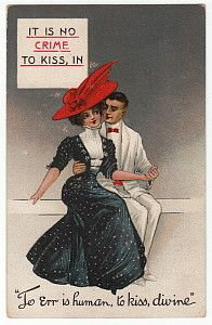 1911 Romantic Couple Antique Postcard No Crime to Kiss