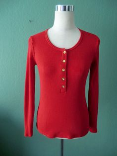J.CREW DEEP RED 100% WAFFLE KNIT LONG SLEEVE TOP/TEE SMALL #JCrew #Rounded