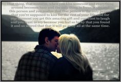 My fiance and I <3 One of our engagement photos edited with a quote from Never Been Kissed :)