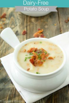 A delicious dairy-free potato soup recipe that is so flavorful and packed with potatoes and bacon!