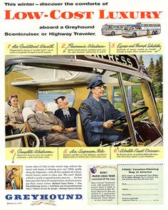 Greyhound - 1956 / VINTAGE AD. Pinned by http://FlanaganMotors.com