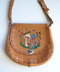 Old Handbag Crossbody Leather Ethnic Pattern Head of Bulls 1970 Old Hand Bag Strap Leather Pattern Ethnic Bullhead 1970