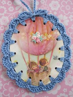 hot air balloon crochet vintage book illustration by shoeflower