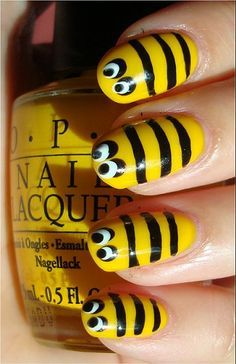 Bee Nails Nail Art Tutorial, Swatches & Pictures  How cute are these? Hey, @ Brittany Patrick with these you could really be the B girl, lmao.