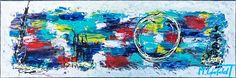 40x120 cm - Art by Lønfeldt - original abstract painting, modern textured art, colorful