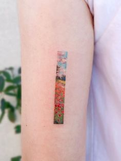 As tattooing emerges as a serious form of expression, art history plays an undeniable role in fine art tattoos. Small Colorful Tattoos, Colorful Flower Tattoo, Small Tattoos, Small Japanese Tattoo, Japanese Sleeve Tattoos, Modern Art Tattoos, Simplistic Tattoos, Monet Tattoo, Little Flower Tattoos