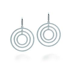 Tiffany Metro round drop earrings in 18k white gold with diamonds, large. | Tiffany & Co.