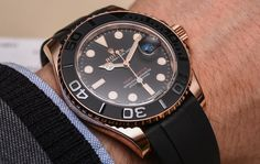 """Rolex Yacht-Master 116655 & 268655 Everose Gold Ceramic Watches Hands-On - by Ariel Adams - see the hand-on photos, video, and report from the ground at Baselworld 2015 - on aBlogtoWatch.com """"The new sports watch from Rolex for 2015 was an interesting version of the Rolex Yacht-Master presented in an 18k Everose gold case with a Cerachrom black ceramic bezel matched to a new strap Rolex calls the Oysterflex. The 2015 Yacht-Master is actually two watches and each has slight, but important…"""