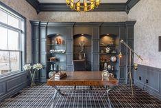 Elegant home office in gray, white and black with a smart plaid style carpet - Decoist Blue Carpet Bedroom, Teal Carpet, Patterned Carpet, Carpet Colors, Carpet Decor, Diy Carpet, Carpet Ideas, Country Style Living Room, Living Room Drapes