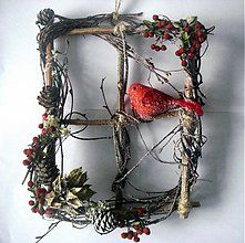 Dekorácie - Vianočné okno s vtáčikom - 3154302
